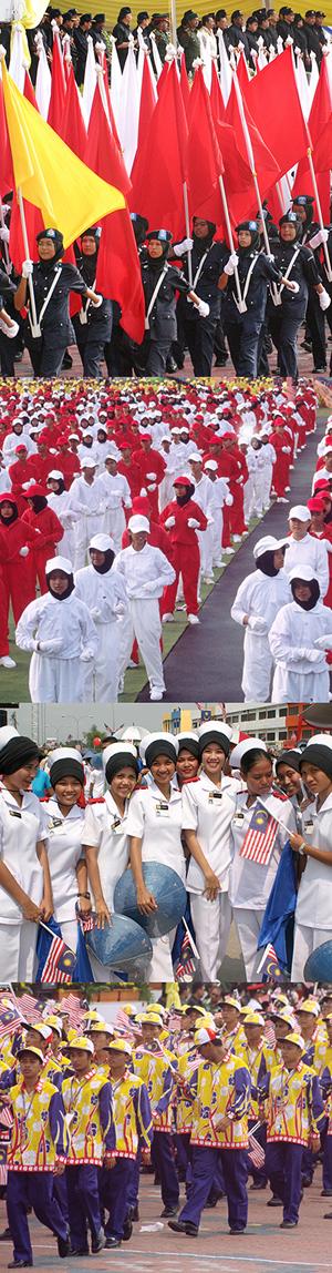 Défilés traditionnels en Malaisie lors de la Merdeka