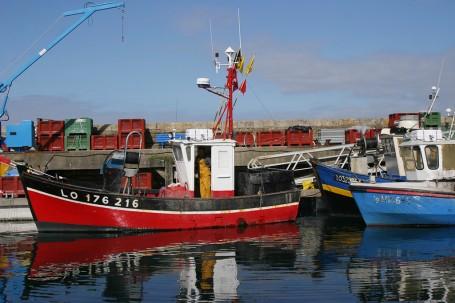 Bateaux de pêcheurs, soleil couchant